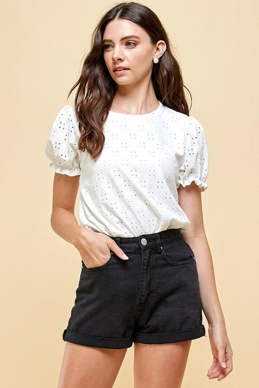 Les Amis Emily's Eyelet Top In White - Main Image