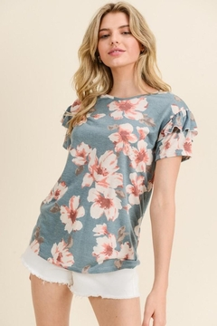 Les Amis Floral Ruffle Sleeve Comfy Top - Product List Image