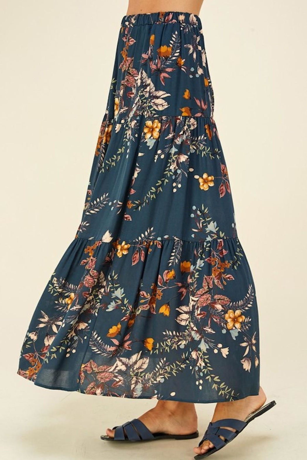 Les Amis Layered Floral Maxi Skirt - Back Cropped Image