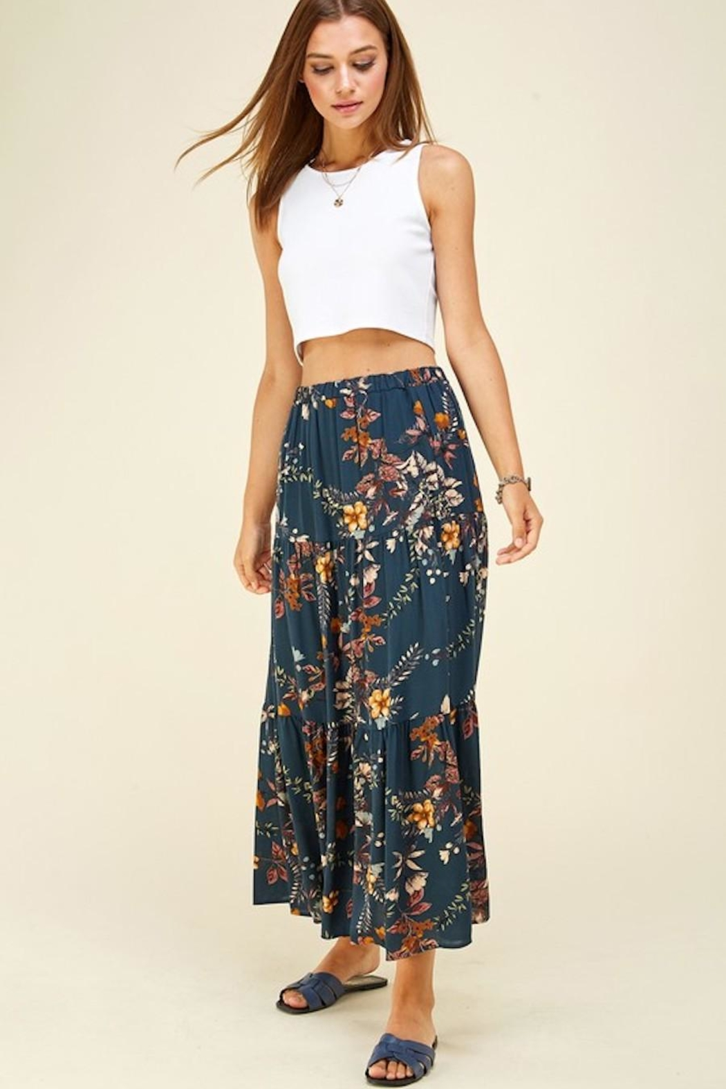 Les Amis Layered Floral Maxi Skirt - Front Full Image