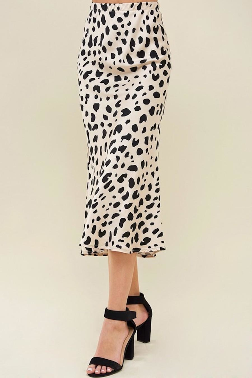Les Amis Leopard Midi Skirt - Back Cropped Image