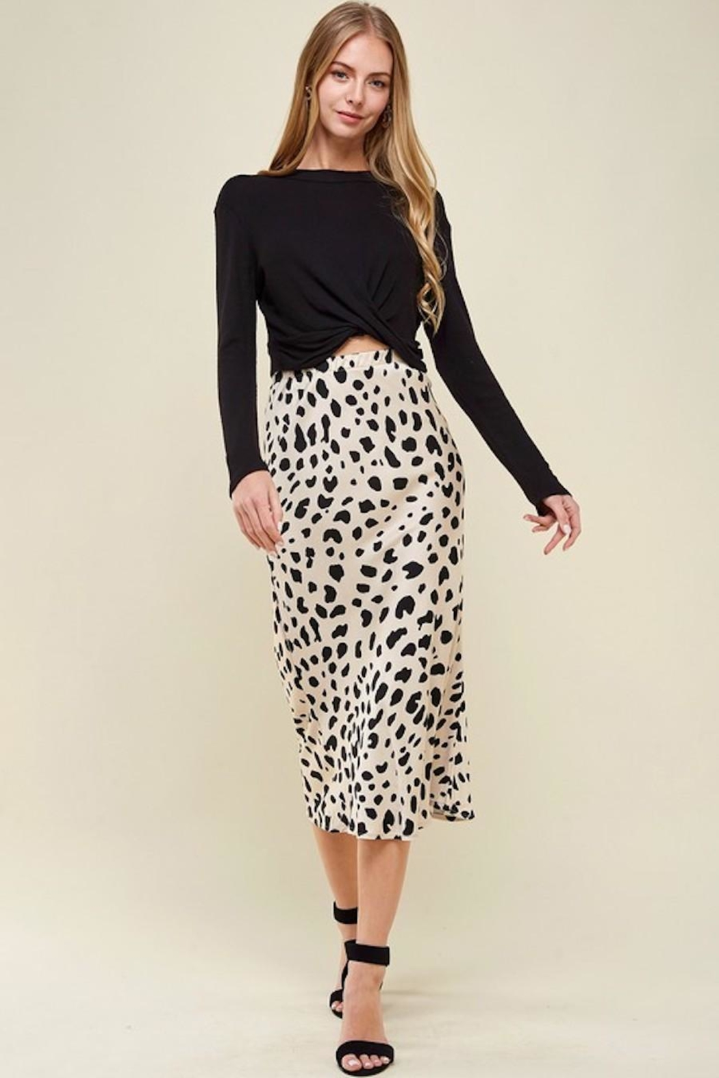 Les Amis Leopard Midi Skirt - Side Cropped Image