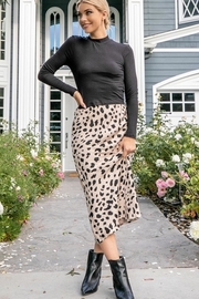 Les Amis Leopard Midi Skirt - Front cropped