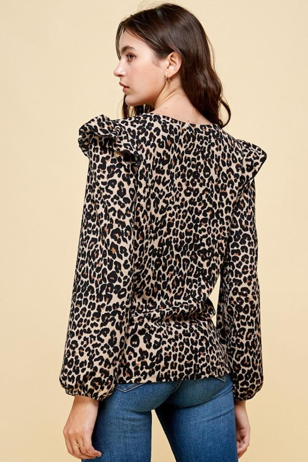 Les Amis Leopard Ruffle Detail Blouse - Side Cropped Image