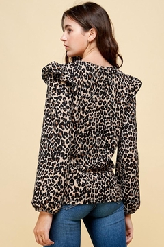 Les Amis Leopard Ruffle Detail Blouse - Alternate List Image