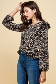 Les Amis Leopard Ruffle Detail Blouse - Front full body