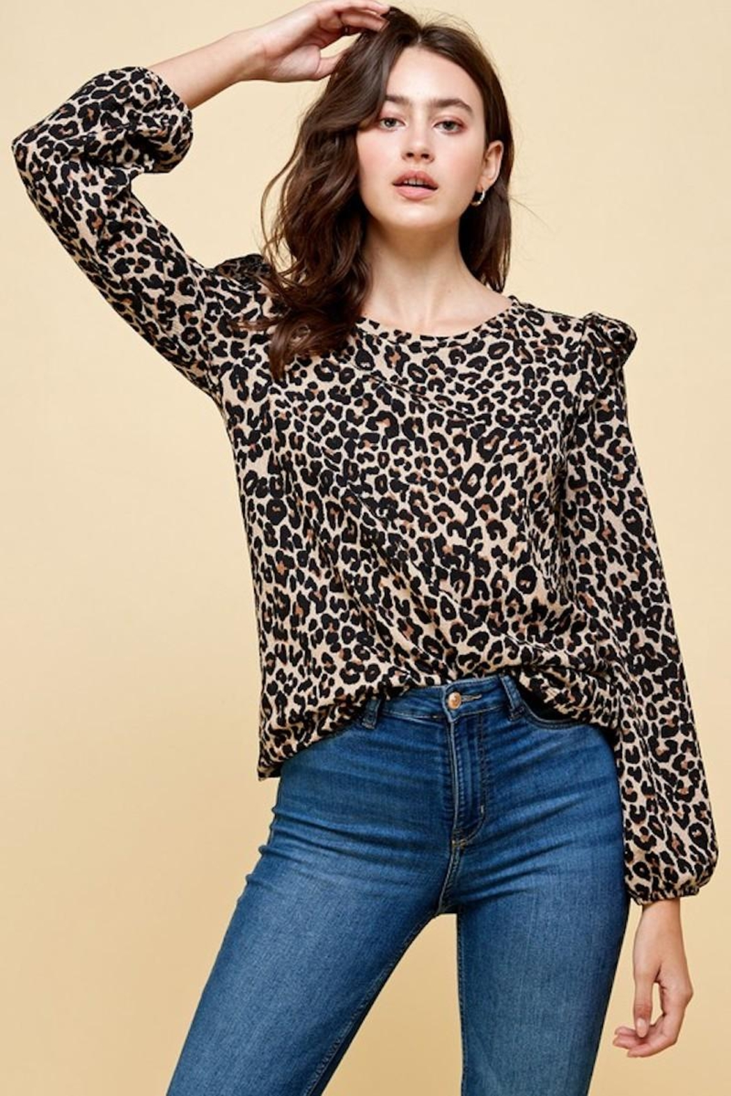 Les Amis Leopard Ruffle Detail Blouse - Front Cropped Image
