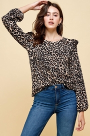 Les Amis Leopard Ruffle Detail Blouse - Front cropped