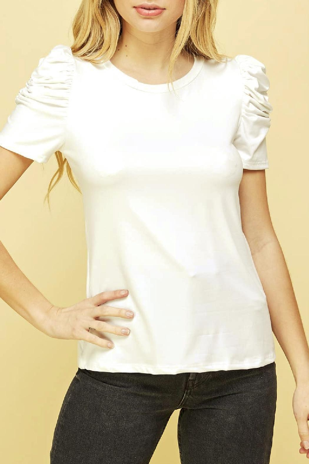 Les Amis Lily Ruched Sleeve Top - Front Full Image