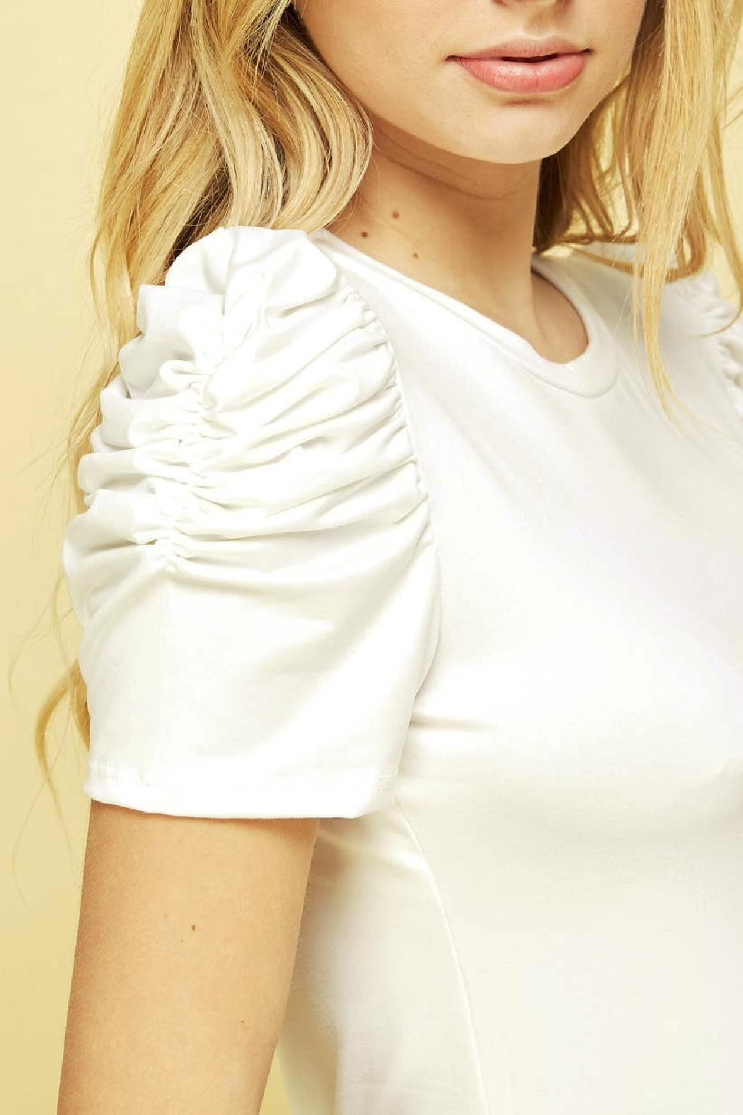 Les Amis Lily Ruched Sleeve Top - Main Image
