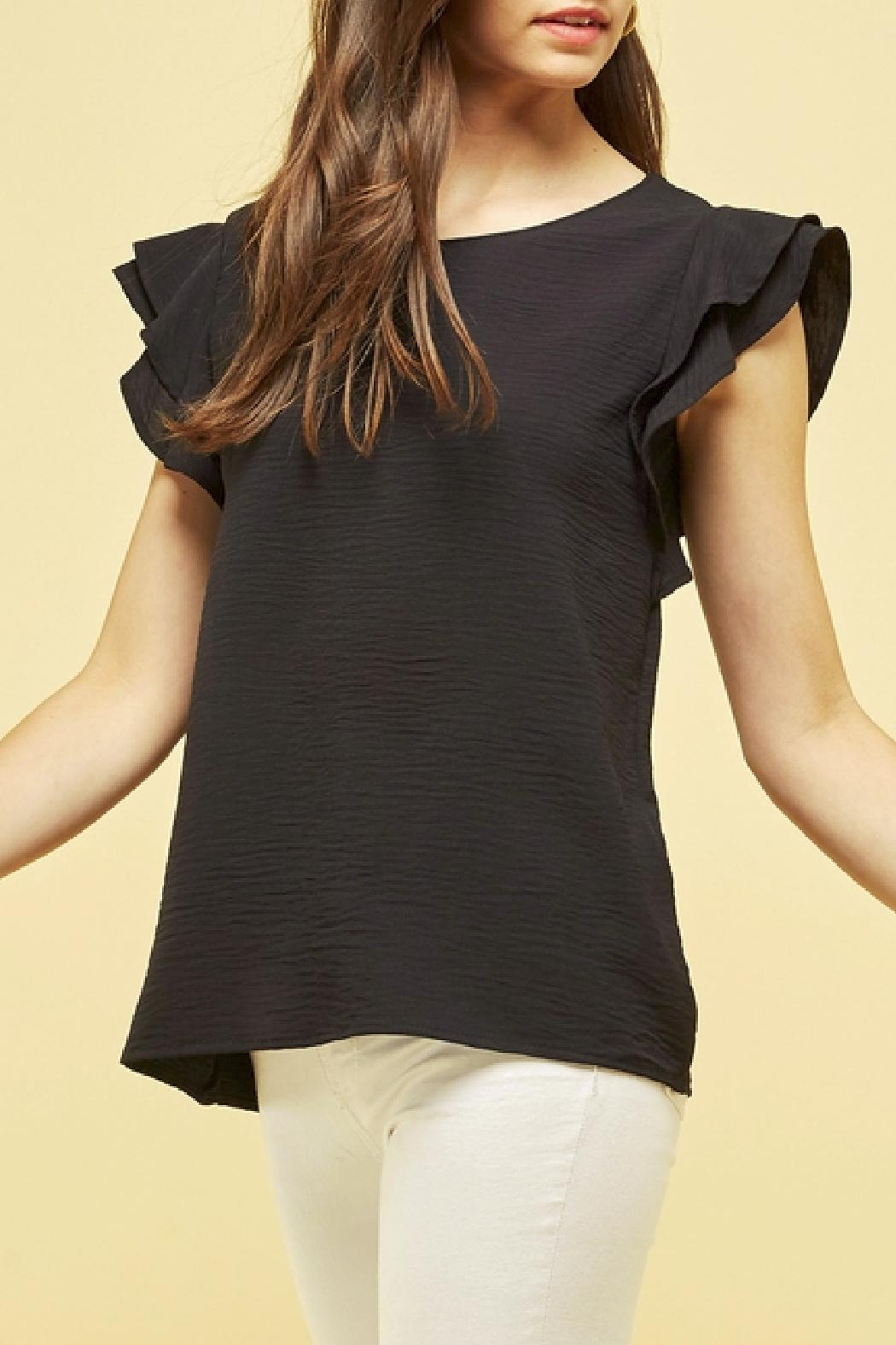 Les Amis Maya Ruffle Textured Blouse - Front Cropped Image