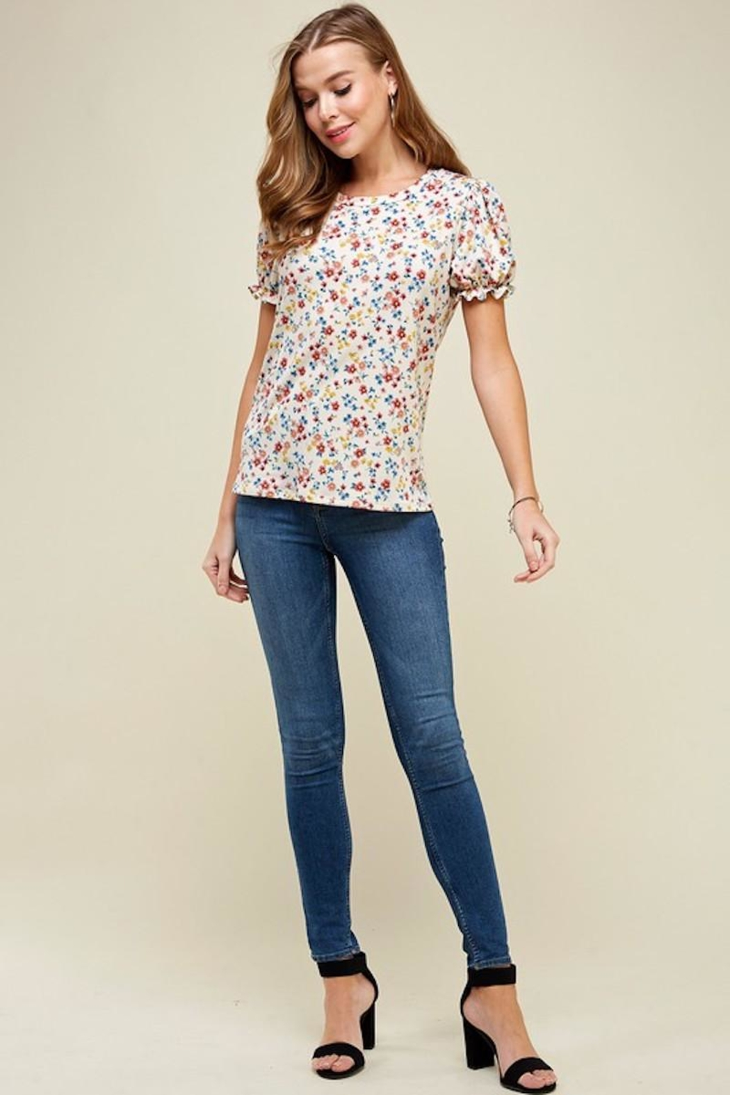Les Amis Natural Floral Blouse - Side Cropped Image
