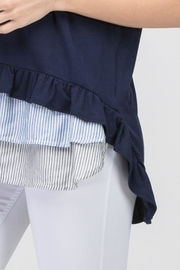 Les Amis Navy Striped Ruffle - Back cropped