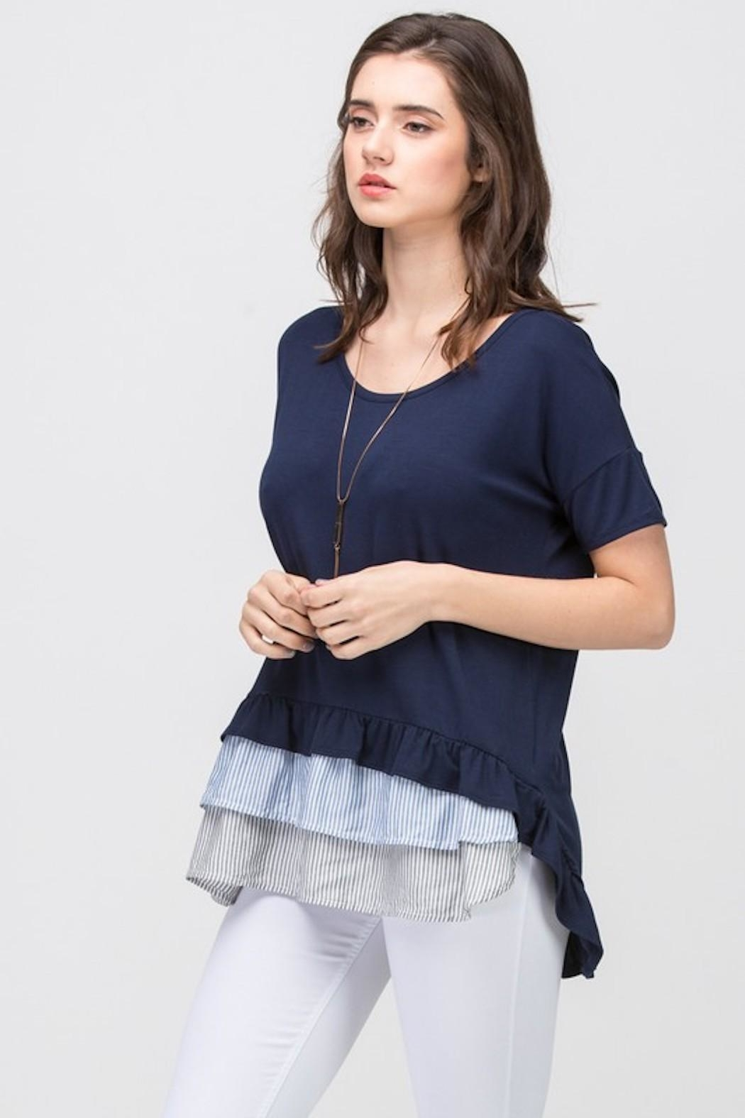Les Amis Navy Striped Ruffle - Side Cropped Image
