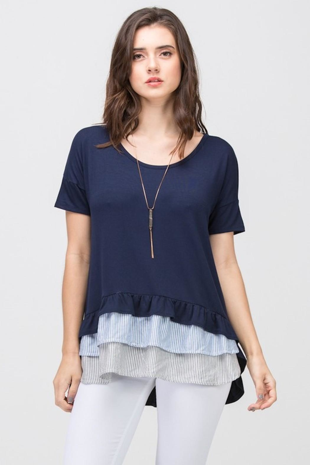Les Amis Navy Striped Ruffle - Front Cropped Image