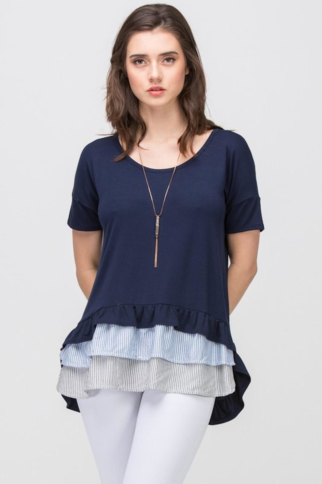 Les Amis Navy Striped Ruffle - Front Full Image
