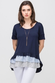Les Amis Navy Striped Ruffle - Front full body