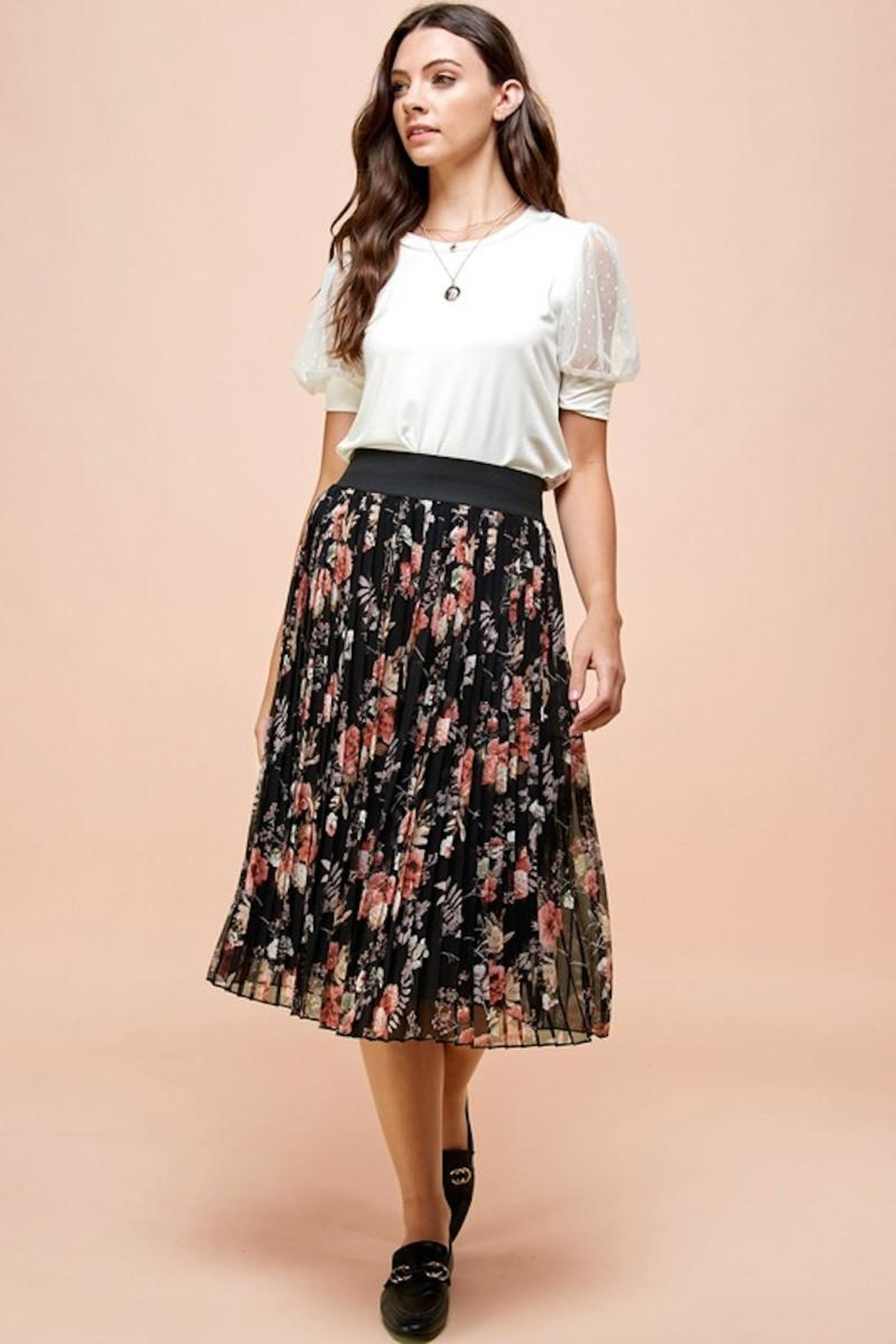 Les Amis Pleated Fall Floral Skirt - Back Cropped Image