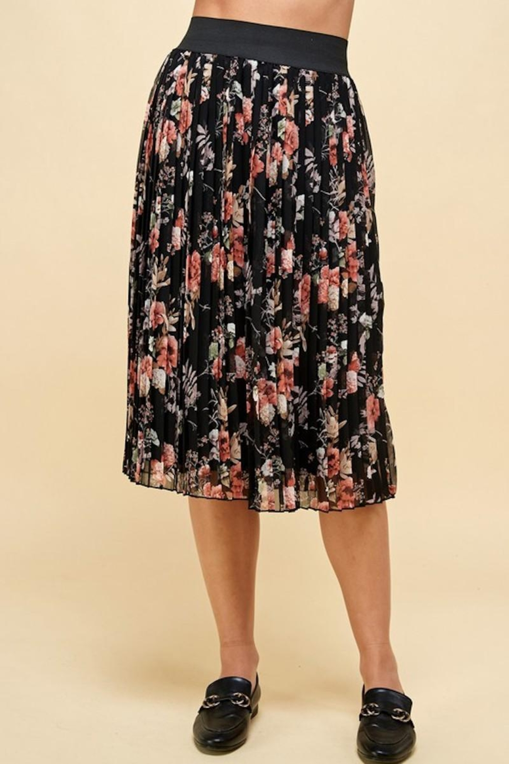 Les Amis Pleated Fall Floral Skirt - Side Cropped Image