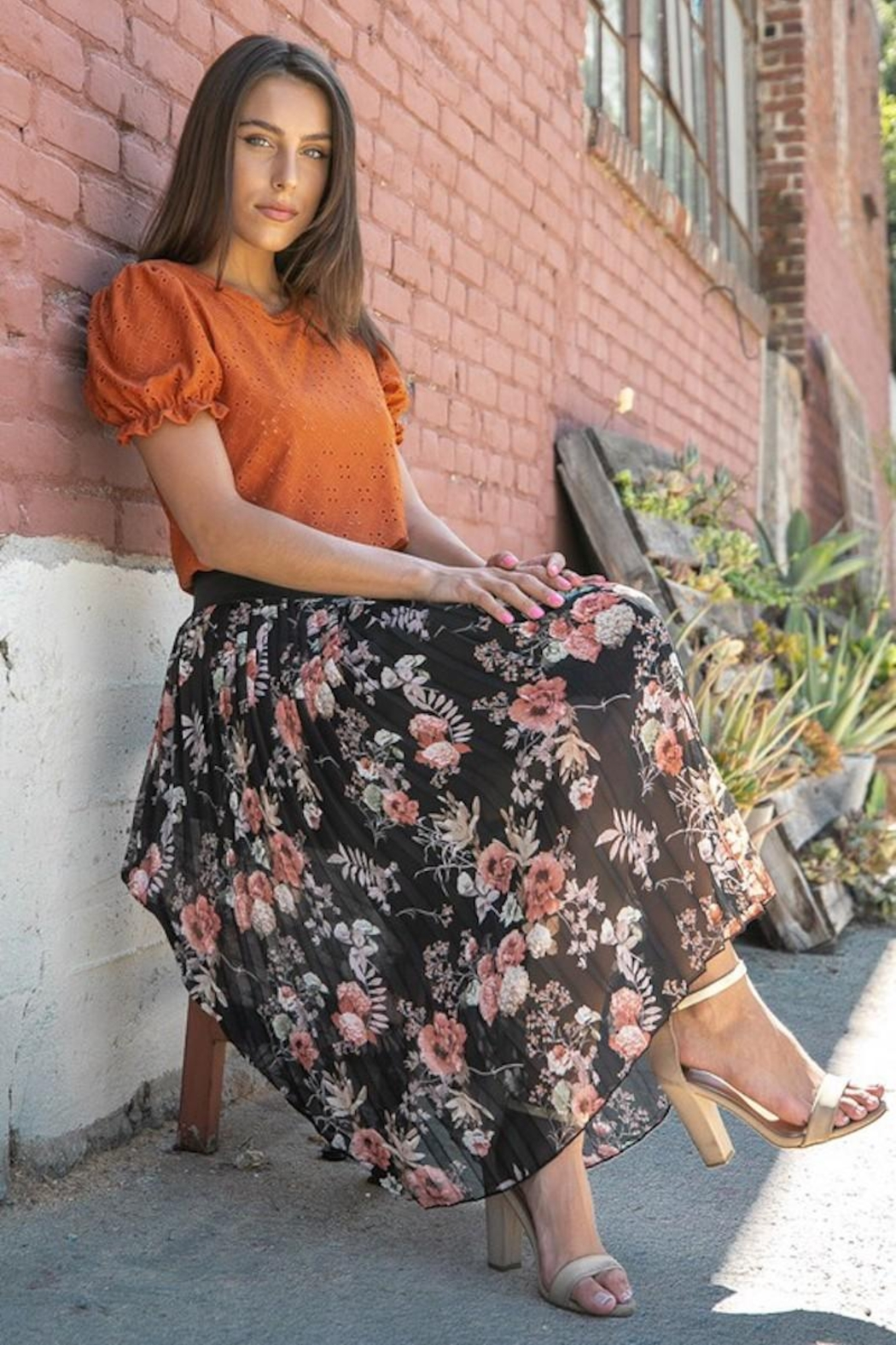 Les Amis Pleated Fall Floral Skirt - Main Image