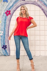 Les Amis Red Love Ruffled Sleeves Blouse - Product Mini Image