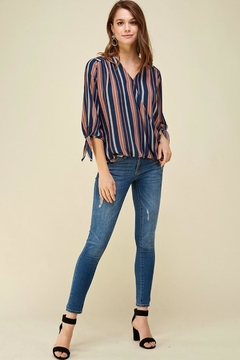 Les Amis Striped Top With Bow Sleeve - Alternate List Image