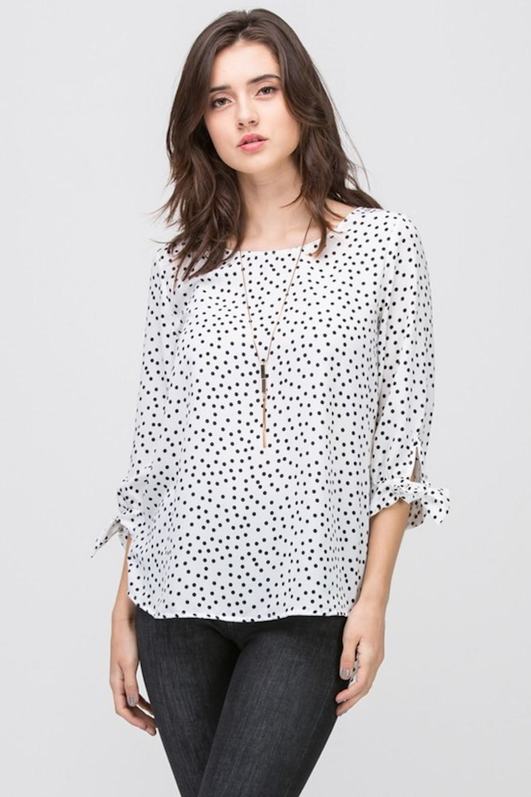 Les Amis White Pola-Dot Blouse - Front Cropped Image