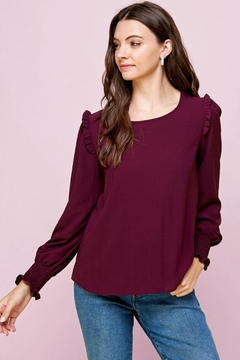 Les Amis Wine Plum Ruffle Detail Blouse - Product List Image