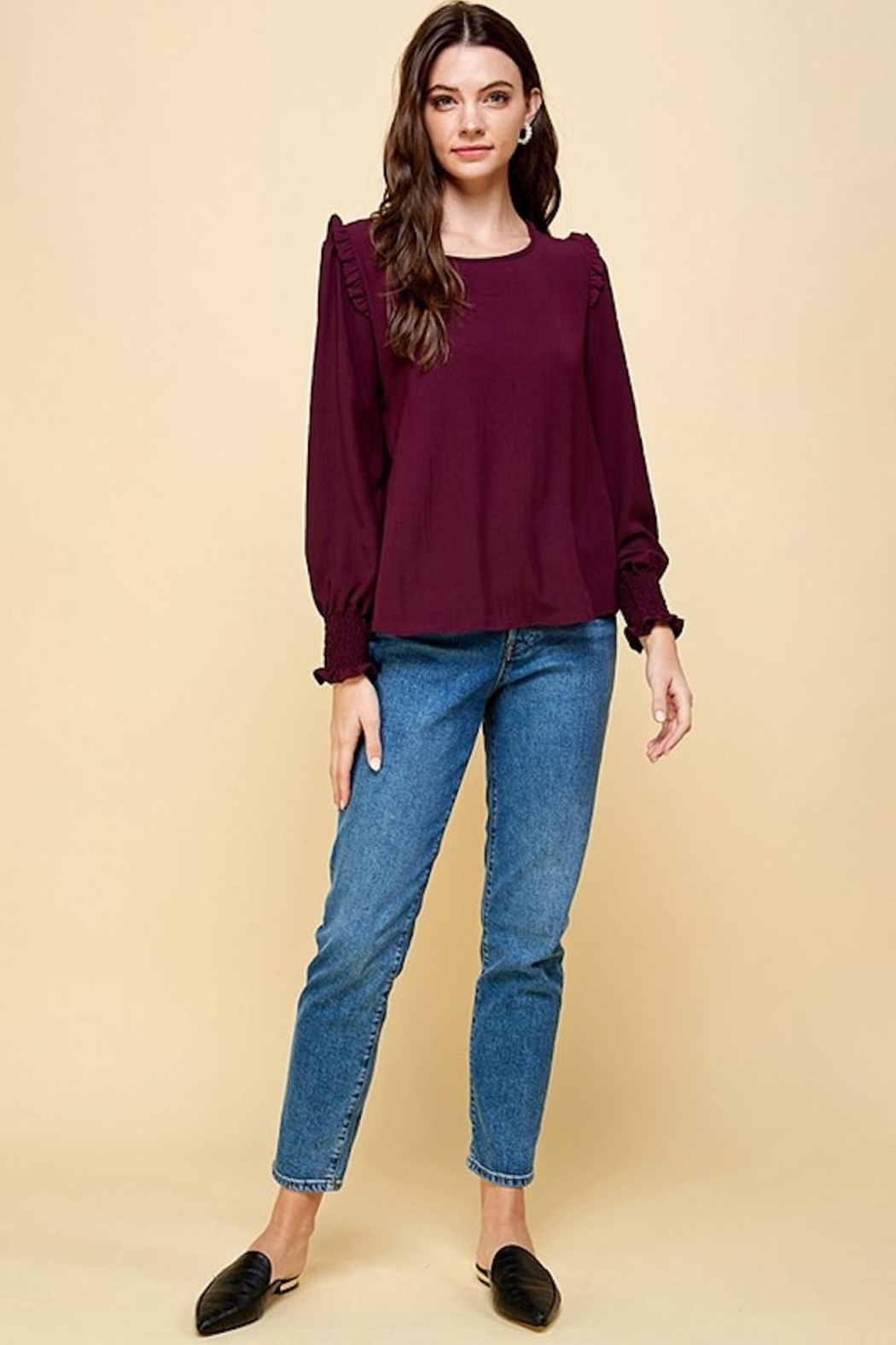 Les Amis Wine Plum Ruffle Detail Blouse - Side Cropped Image