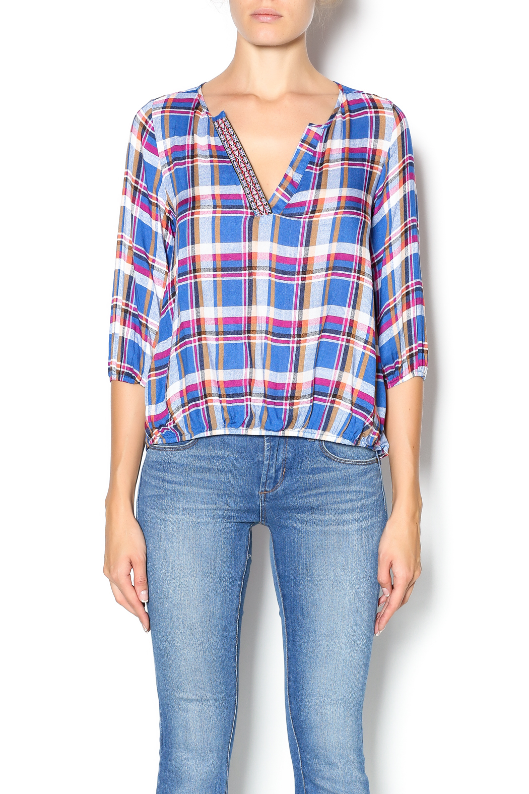 Leshop Plaid Trim Top - Front Cropped Image