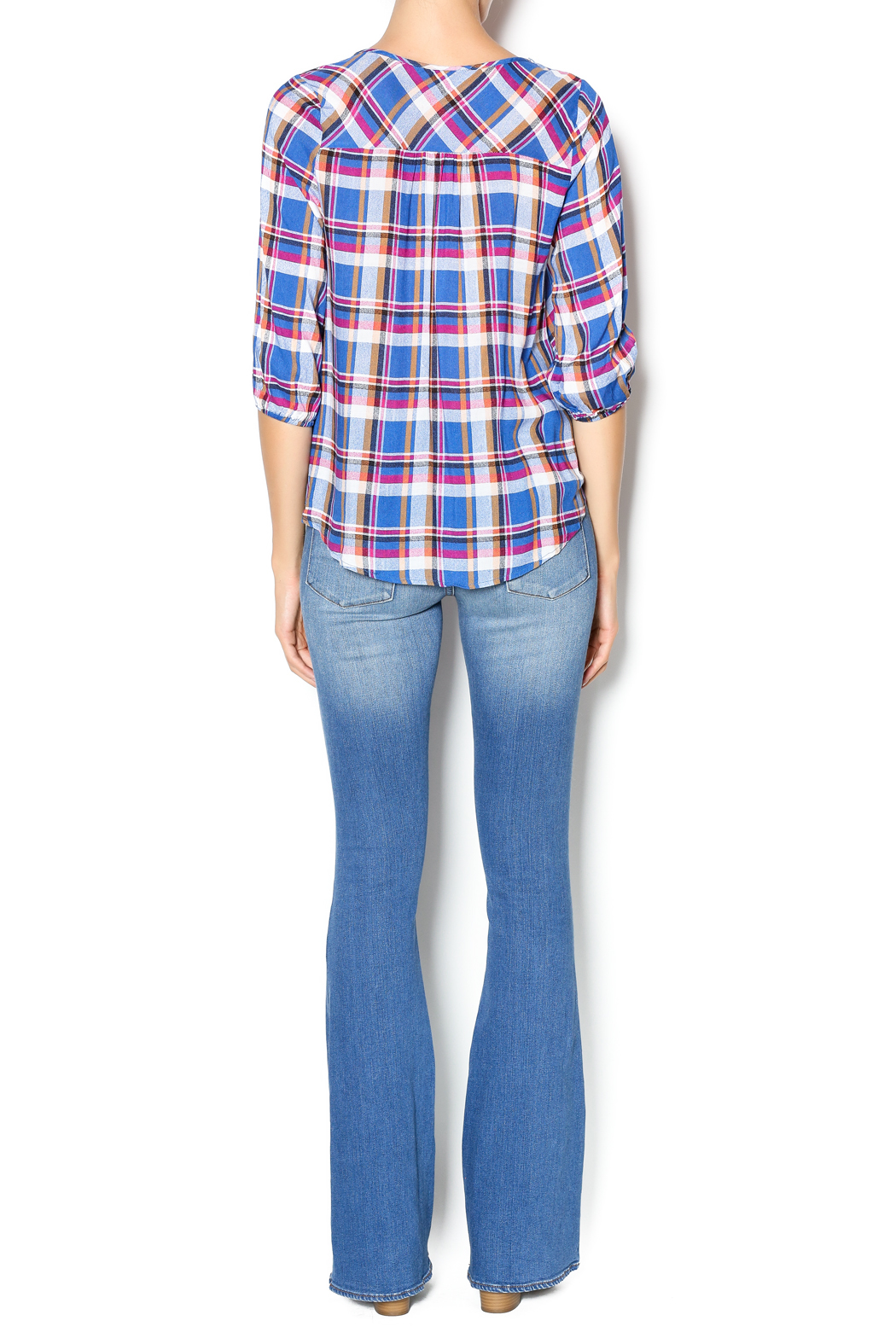 Leshop Plaid Trim Top - Side Cropped Image