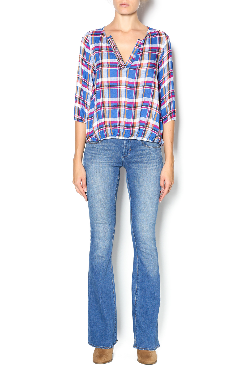 Leshop Plaid Trim Top - Front Full Image