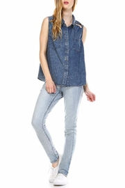 Leshop Slit Denim Top - Product Mini Image