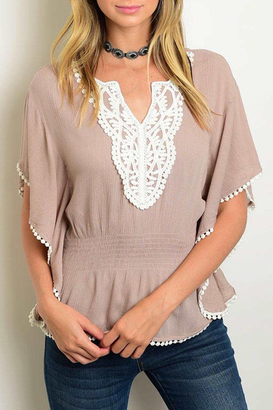 Leshop Taupe Peasant Top - Front Cropped Image
