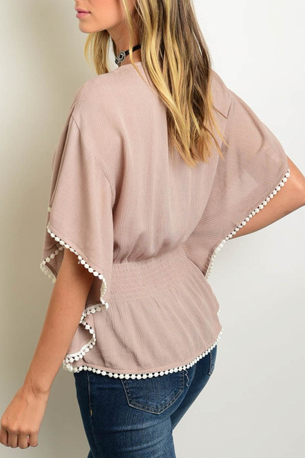 Leshop Taupe Peasant Top - Front Full Image
