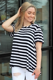 Hem and Thread Let's Get Nautical Ruffle Sleeve Striped Top - Product Mini Image