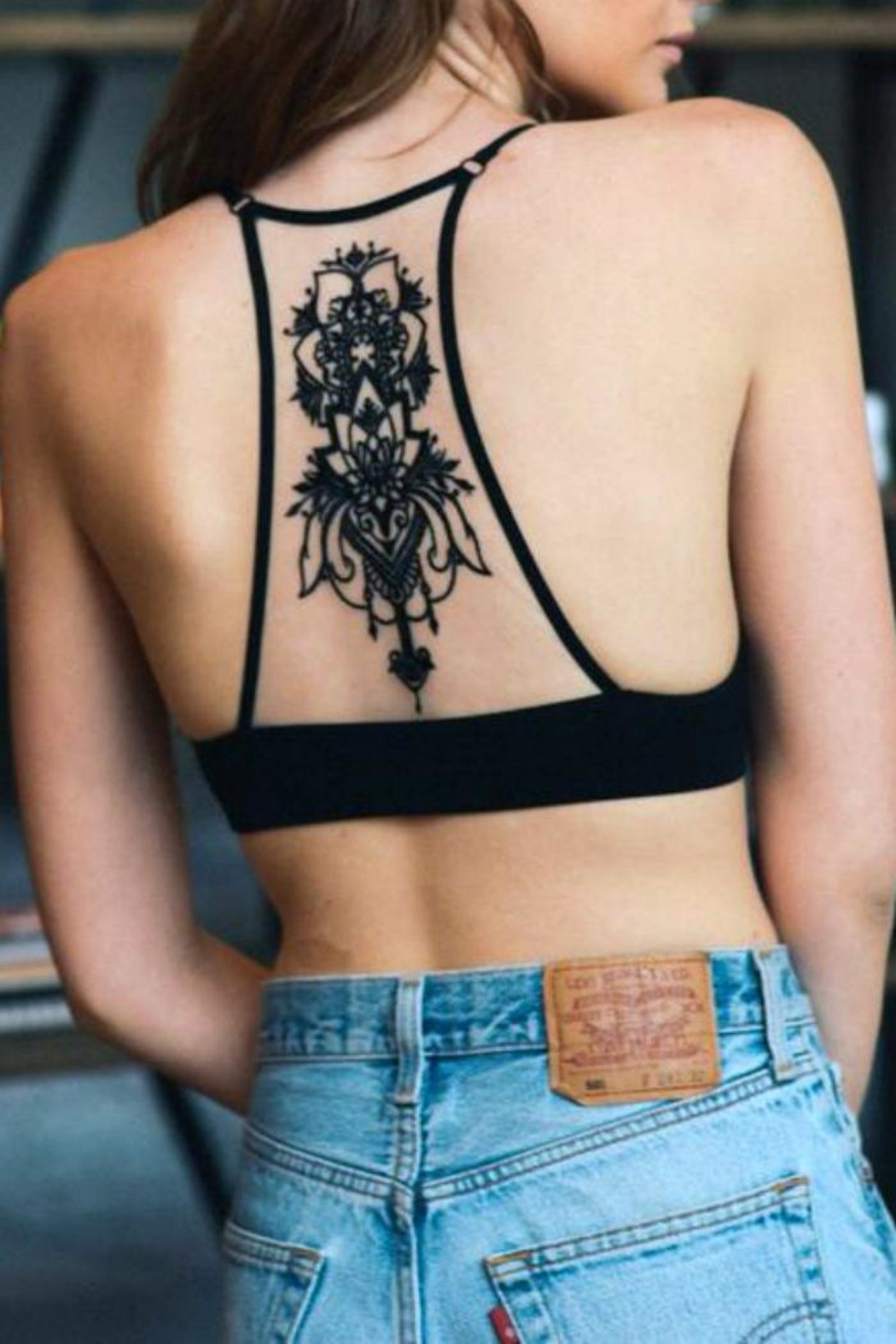 Leto Black Tattoo Bralette - Front Cropped Image