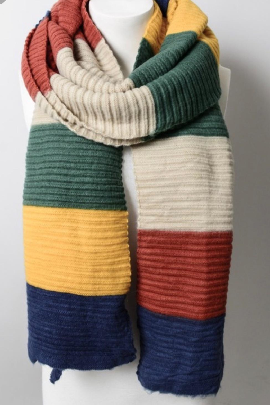 Leto Color Block Knit Scarf - Front Full Image