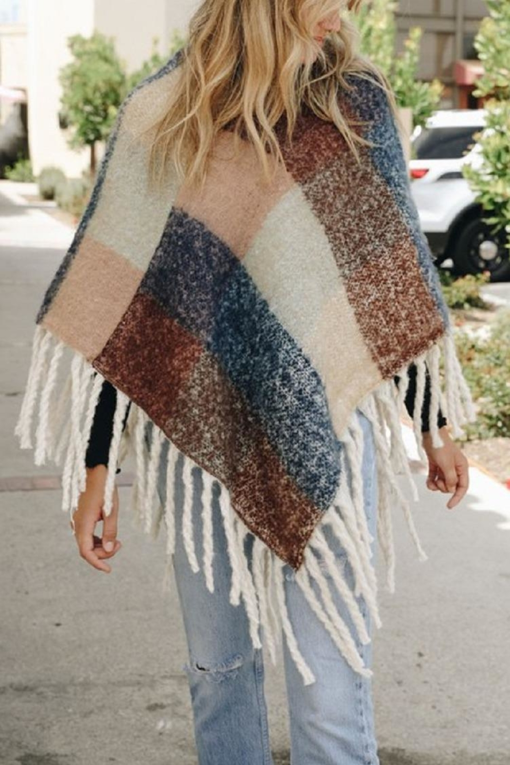 Leto Colorblock Tassel Poncho - Front Cropped Image