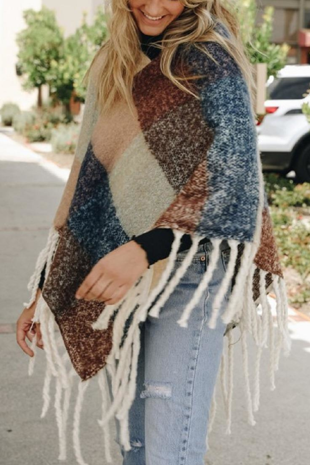 Leto Colorblock Tassel Poncho - Back Cropped Image