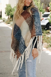 Leto Colorblock Tassel Poncho - Front full body