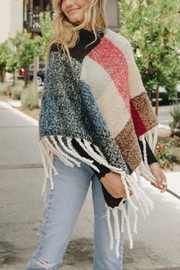 Leto Colorblock Tassel Poncho - Back cropped