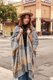 Leto Multi Color Tribal Kimono Poncho With Hoodie - Product Mini Image