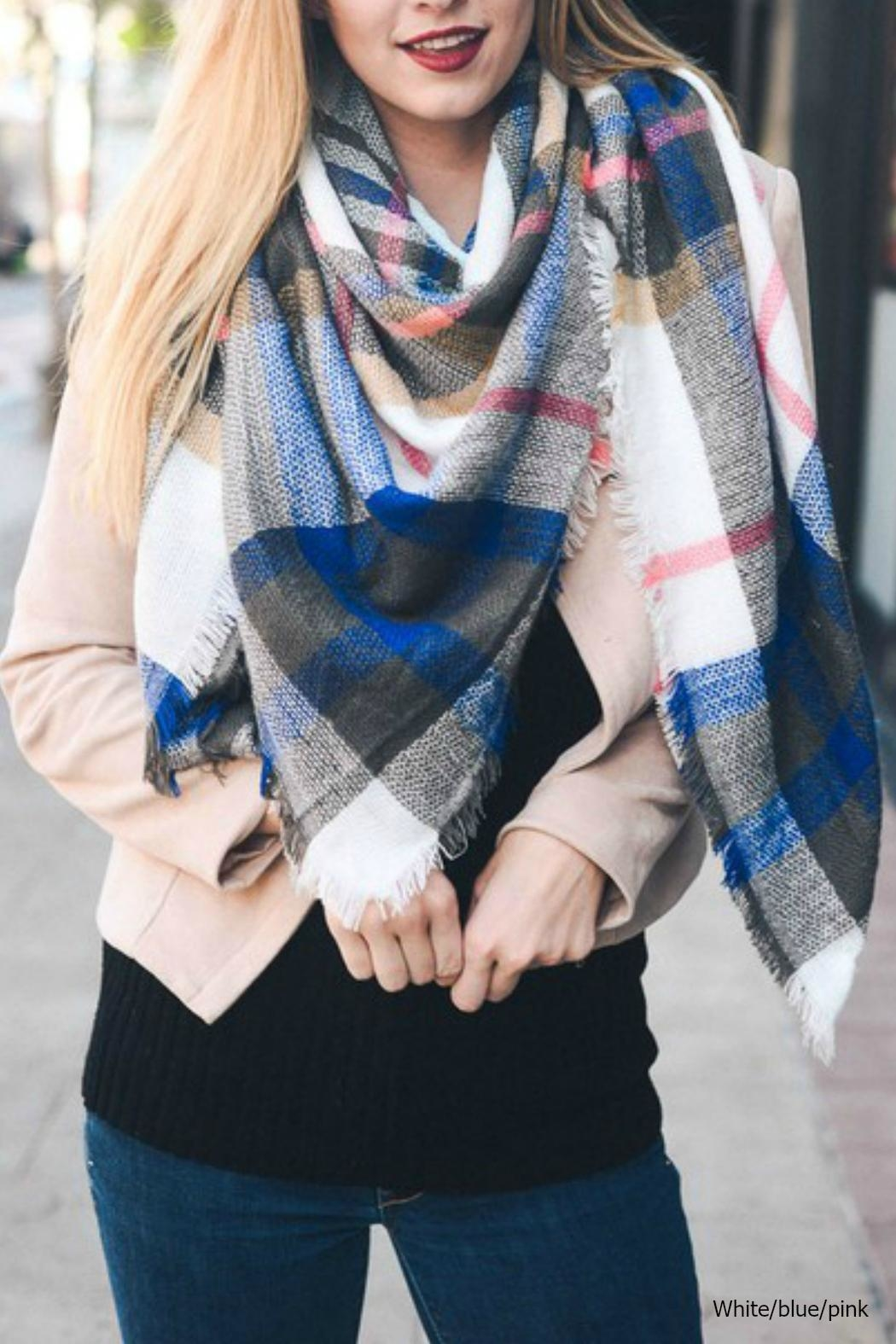 Leto Plaid-Blue Blanket Scarf - Front Cropped Image