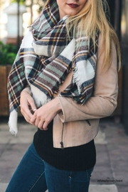 Leto Plaid-Brown Blanket Scarf - Front cropped