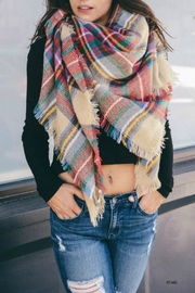 Leto Plaid-Khaki Blanket Scarf - Product Mini Image