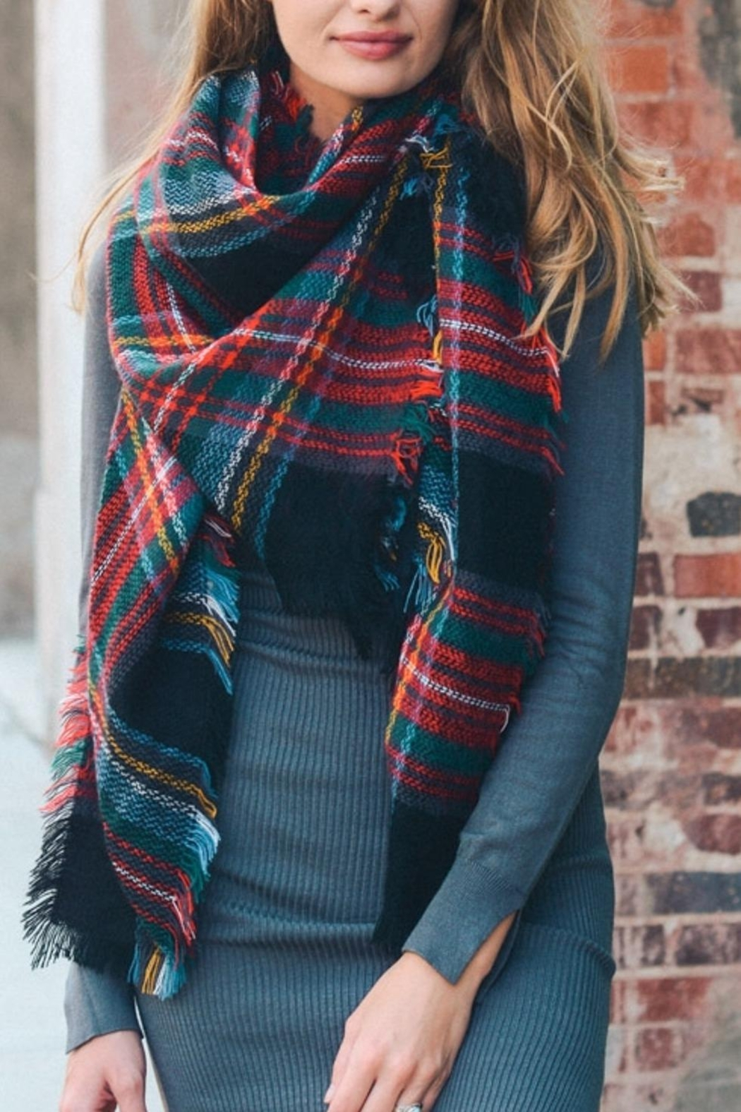 Leto Accessories Plaid Blanket Scarf - Front Cropped Image