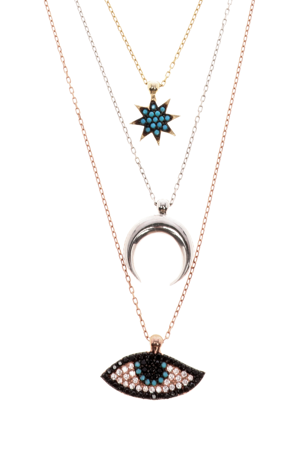 Lets Accessorize Tri Color Layered Necklace - Front Full Image