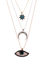 Lets Accessorize Tri Color Layered Necklace - Front full body
