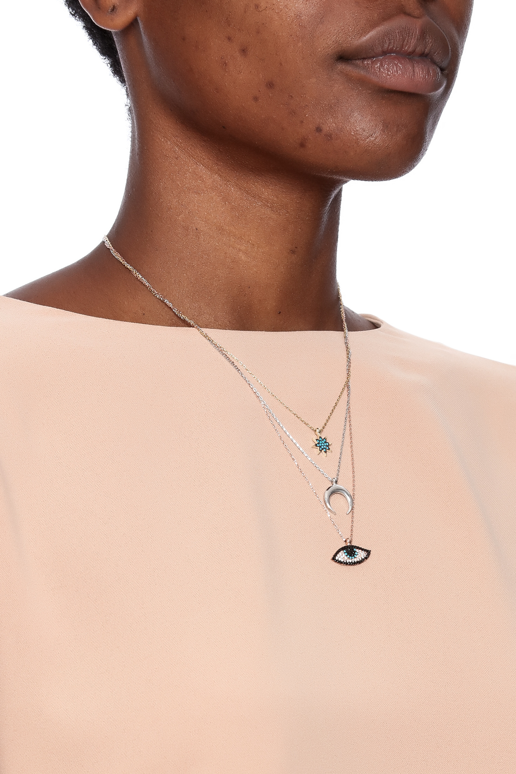 Lets Accessorize Tri Color Layered Necklace - Back Cropped Image